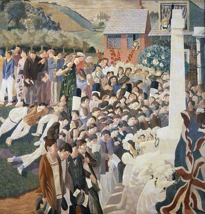 Unveiling-a-War-Memorial-at-Cookham,-1921,-Spencer,-Stanley-(1891-1959)-Private-Collection-The-Bridgeman-Art-Library-
