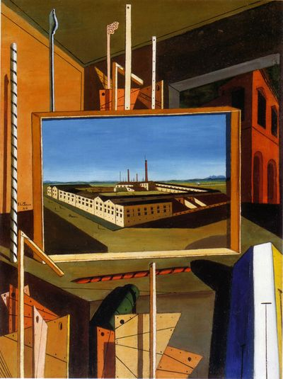 DeChirico1916 Metaphysical interior w large bldg